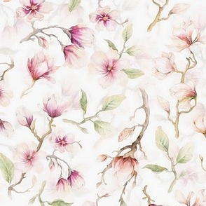 """10""""  Blush Hand Drawn Watercolor Magnolia Flowers Spring Pattern"""