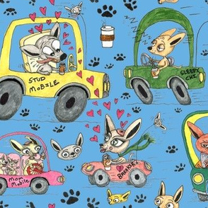 chihuahuas in cars drinking coffee, large scale, blue