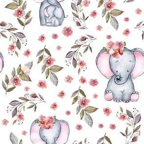"""10"""" Cute baby elephants and flowers, elephant fabric, elephant nursery"""