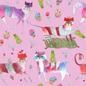 fun cats-pink