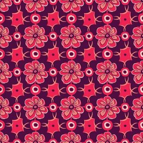 Retro Floral Link in red