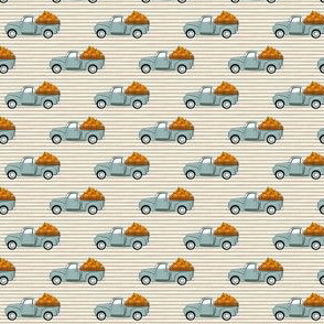 (extra small) fall vintage truck - pumpkins - dusty blue on tan stripes - LAD19BS