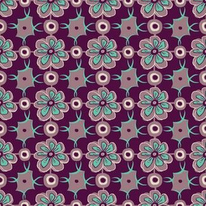 Retro floral LInk in teal