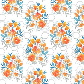 Apricot and Aqua Watercolor Floral and hexagons