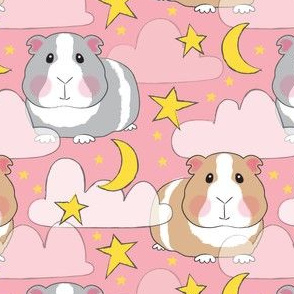 starry night guinea pigs on pink
