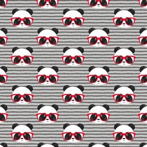 "(3/4"" scale) pandas with glasses - grey stripes red C19BS"