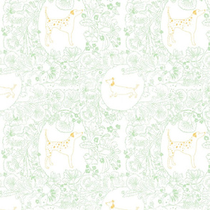 Vintage Floral Dog Pattern with Dalmatians and Daschunds