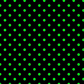 Black Licorice and Lime Green Polka Dots