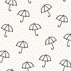 Springtime Baby Umbrella Teal Dots