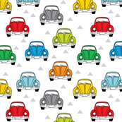 small multi color cars front view