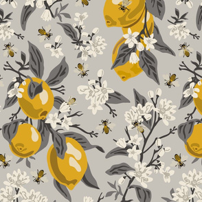 Bees & Lemons 2 - Large - Grey, (grey leaves)
