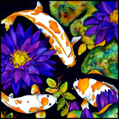 3 Koi and Lilies Large Scale