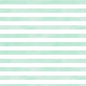 Watercolor Stripe in Turquoise and White