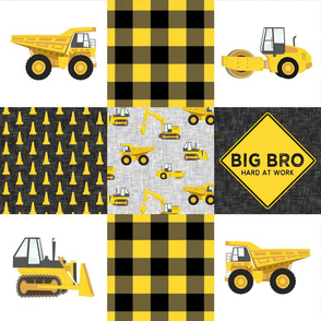 Big Bro  - Construction Wholecloth - yellow and black plaid - LAD19BS