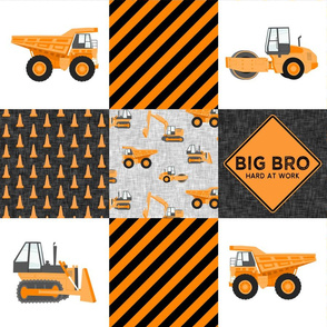 Big Bro  - Construction Wholecloth - orange and black - LAD19BS