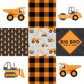 Big Bro  - Construction Wholecloth - orange and black plaid  - LAD19BS