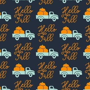 Hello Fall - vintage truck with pumpkins - blue - LAD19