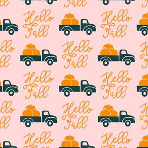 Hello Fall - vintage truck with pumpkins - pink - LAD19