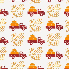 Hello Fall - vintage truck with pumpkins -  red truck - LAD19