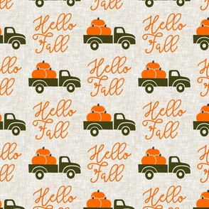 Hello Fall - vintage truck with pumpkins - green truck - LAD19