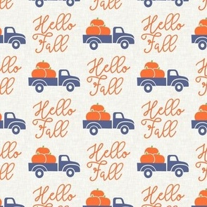 Hello Fall - vintage truck with pumpkins - blue truck - LAD19