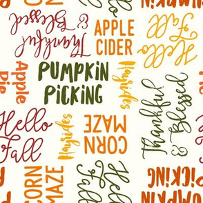 Favorite things of fall - fall words in multi on cream - LAD19