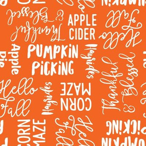 Favorite things of fall - fall words on orange - LAD19