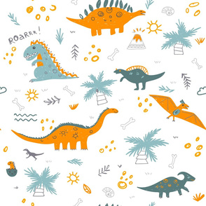 childish pattern with colorful dinosaurs