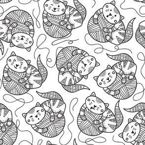 surface pattern with cute cats on yarn balls