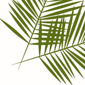 Palm leaves - olive on white,large scale