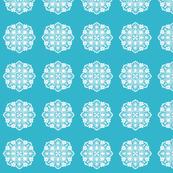tropical flower circular tile (aqua)