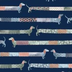Sashiko Style Dachshund Colorful / Small Scale