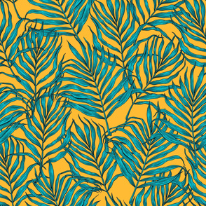 Palm leaves on yellow