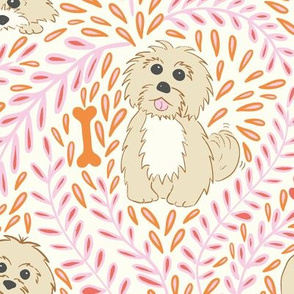 My havanese dog - pink and orange - large scale