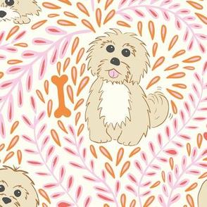 My havanese dog - pink and orange - large scale