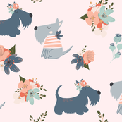 Summer Flower Scottie Dogs