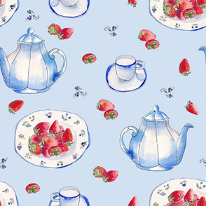 Blue Strawberries Teaparty