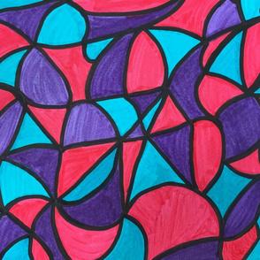 Color Blocks - Blue Pink Purple