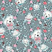 dog flower maze - blue