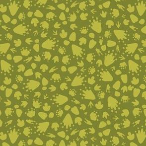 Ditsy Dinosaurs Tracks / Green