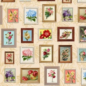 Framed Flora* (Jagger) || paint by number painting paintings gallery wall picture frames flowers cream roses