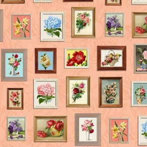 Framed Flora* (Peach Halves) || paint by number painting paintings gallery wall picture frames flowers living coral roses