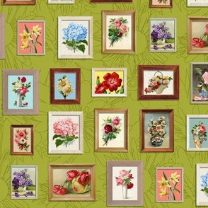 Framed Flora* (Split Pea Soup) || paint by number painting paintings gallery wall picture frames flowers olive green avocado roses