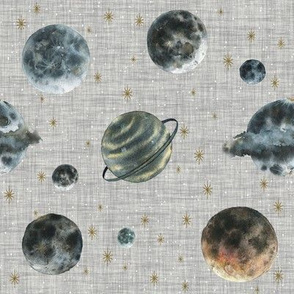 Outer Space Planets // Gray Linen