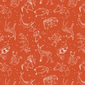 SMALL constellations // geometric animal nursery baby design cute constellations fabric - burnt orange