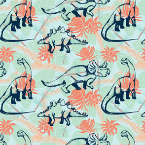 Hawaiian Dinos- mint/coral