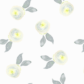 Yellow and Grey Watercolor Flowers