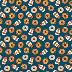 "(1/2"" scale) Coffee and Fall Donuts - PSL pumpkin fall donuts toss - blue - LAD19BS"