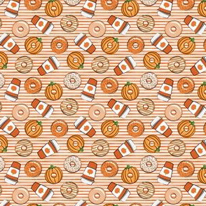 "(1/2"" scale) Coffee and Fall Donuts - PSL pumpkin fall donuts toss - orange stripes - LAD19BS"