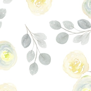 Large Print Yellow and Grey Watercolor Florals